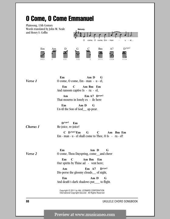 O Come, O Come, Emmanuel: para ukulele by folklore