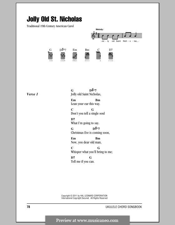 Jolly Old St. Nicholas: para ukulele by folklore