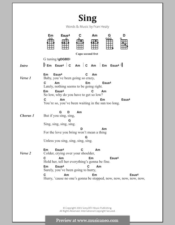 Sing (Travis): Letras e Acordes by Fran Healy