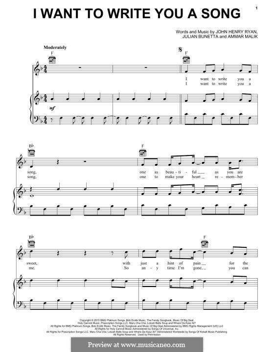 I Want to Write You a Song (One Direction): Para vocais e piano (ou Guitarra) by Ammar Malik, Julian Bunetta, John Henry Ryan
