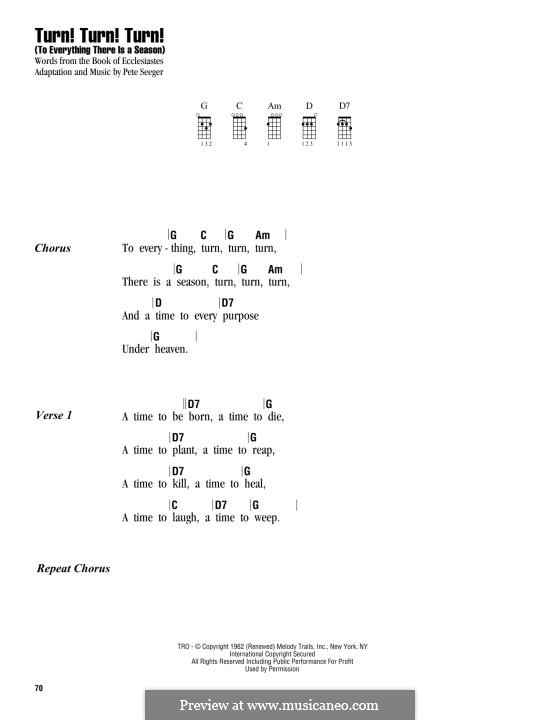 Turn! Turn! Turn! (To Everything There Is a Season): para ukulele by Peter Seeger
