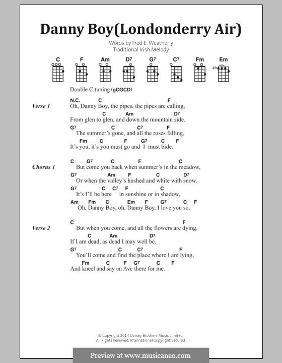 Danny Boy (Londonderry Air) Printable Scores: Letras e Acordes by folklore