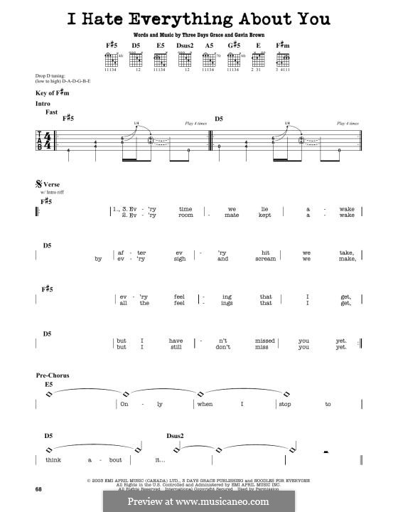 I Hate Everything About You (Three Days Grace): Para Guitarra by Gavin Brown