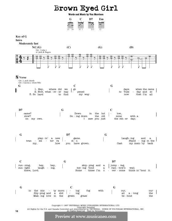 Brown Eyed Girl: Para Guitarra by Van Morrison