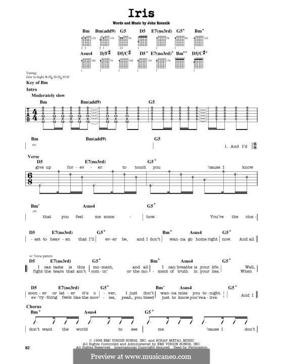 Iris (Goo Goo Dolls): Para Guitarra by John Rzeznik