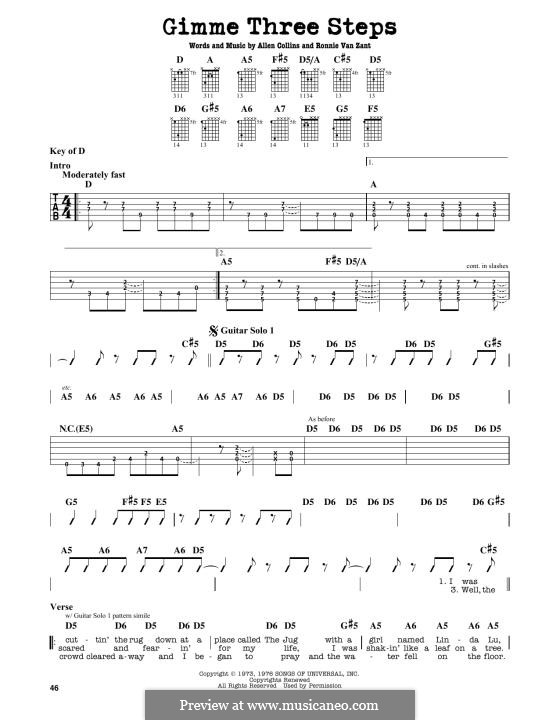 Gimme Three Steps (Lynyrd Skynyrd): Para Guitarra by Allen Collins, Ronnie Van Zant