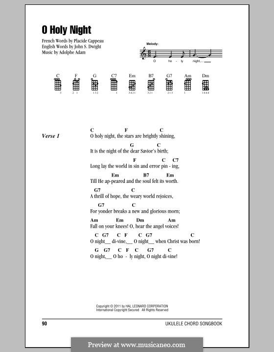 O Holy Night (Printable Scores): para ukulele by Adolphe Adam
