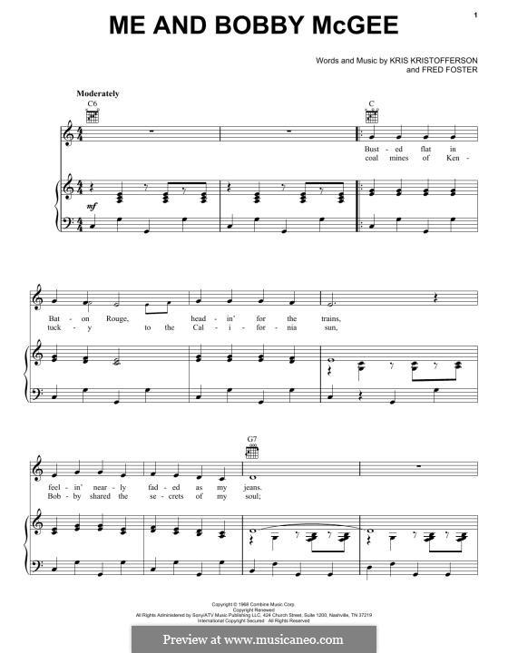 Me and Bobby McGee (Janis Joplin): Para vocais e piano (ou Guitarra) by Fred Foster, Kris Kristofferson