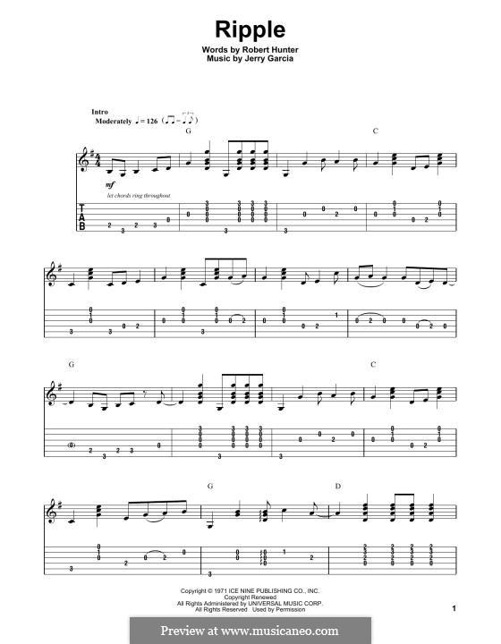 Ripple (The Grateful Dead): Para Guitarra by Jerry Garcia, Robert Hunter