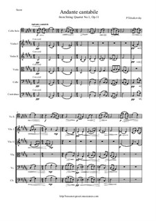String Quartet No.1 in D Major, TH 111 Op.11: Movement II, for cello and string orchestra - score and all parts by Pyotr Tchaikovsky