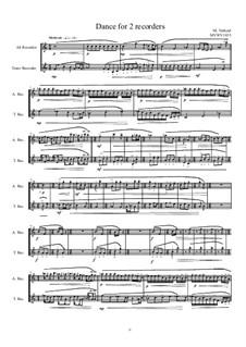 Dans for Alt and Tenor recorder, MVWV 1035: Dans for Alt and Tenor recorder by Maurice Verheul