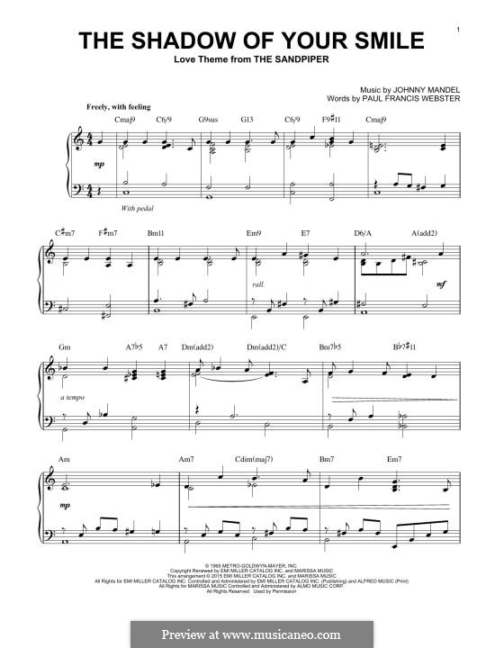 The Shadow of Your Smile (Tony Bennett): Para Piano by Johnny Mandel