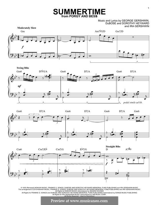 Summertime: For piano (Charlie Parker) by George Gershwin