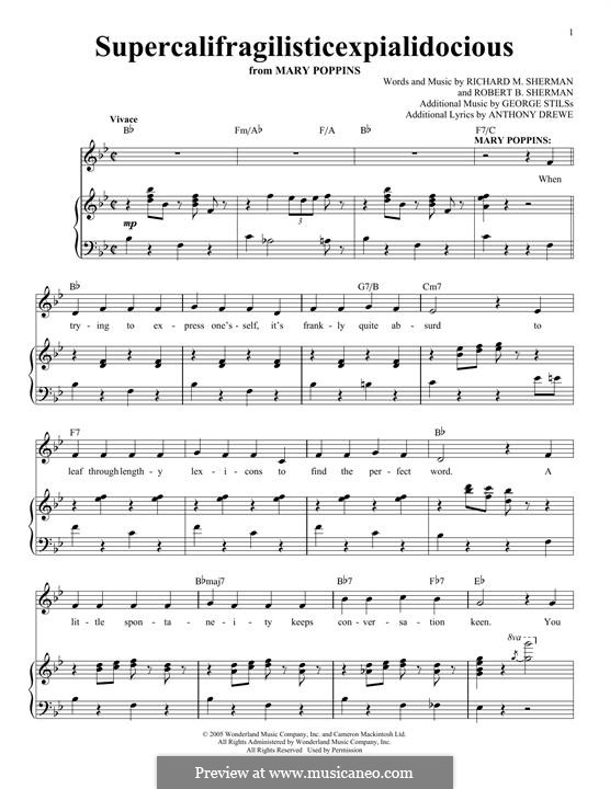 Supercalifragilisticexpialidocious (from Mary Poppins): Para vocais e piano by Richard M. Sherman, Robert B. Sherman