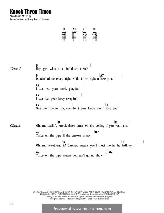 Knock Three Times (Dawn): para ukulele by Irwin Levine, L. Russell Brown