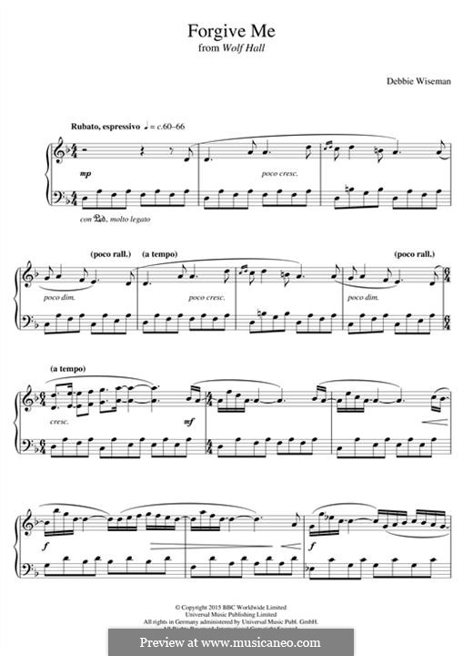 Forgive Me (from 'Wolf Hall'): Para Piano by Debbie Wiseman