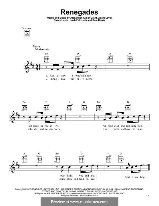Renegades (X Ambassadors): para ukulele by Alexander Grant, Samuel Harris, Casey Harris, Adam Levin, Noah Feldshuh
