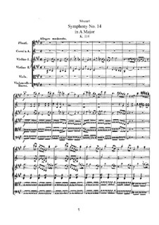 Symphony No.14 in A Major, K.114: partitura completa by Wolfgang Amadeus Mozart