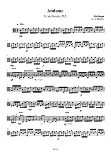Sonata for Harpsichord in C Major, Illy No.27: Andante, for string quartet – viola part, Ор.10 No.1 by Baldassare Galuppi