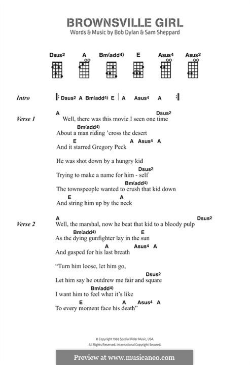 Brownsville Girl: Letras e Acordes by Bob Dylan, Sam Sheppard