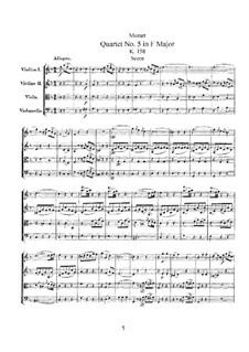 String Quartet No.5 in F Major, K.158: Partitura completa by Wolfgang Amadeus Mozart