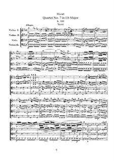 String Quartet No.7 in E Flat Major, K.160: Partitura completa by Wolfgang Amadeus Mozart