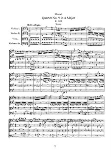 String Quartet No.9 in A Major, K.169: Partitura completa by Wolfgang Amadeus Mozart