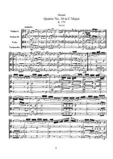 String Quartet No.10 in C Major, K.170: Partitura completa by Wolfgang Amadeus Mozart