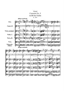 Concerto for Violin and Orchestra No.1 in B Flat Major, K.207: Partitura completa by Wolfgang Amadeus Mozart