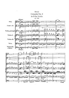 Concerto for Violin and Orchestra No.4 in D Major, K.218: Partitura completa by Wolfgang Amadeus Mozart