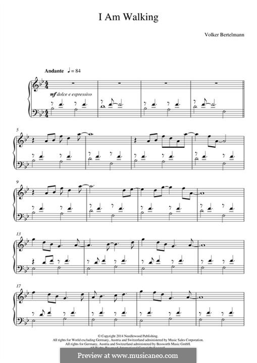 I am Walking (Hauschka): Para Piano by Volker Bertelmann