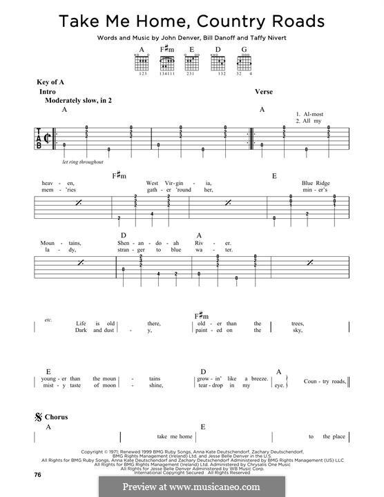 Take Me Home, Country Roads: Para Guitarra by Bill Danoff, John Denver, Taffy Nivert