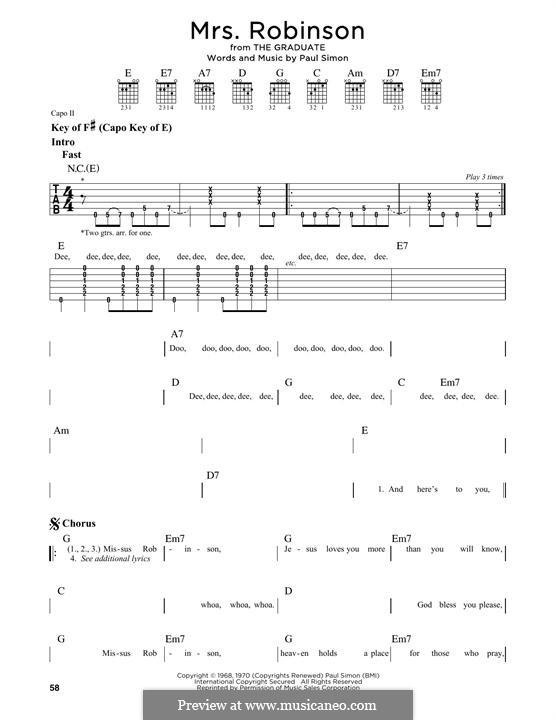 Mrs. Robinson (Simon & Garfunkel): Para guitarra com guia by Paul Simon