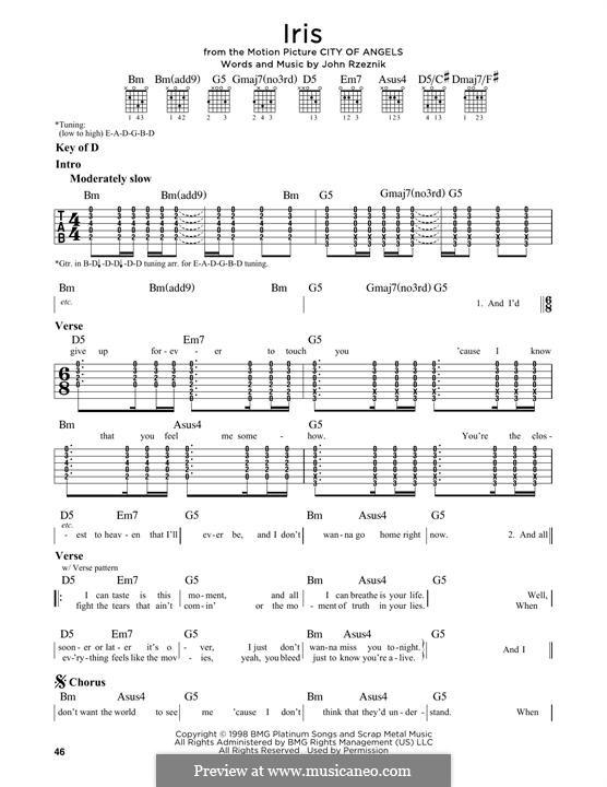 Iris (Goo Goo Dolls): Para guitarra com guia by John Rzeznik
