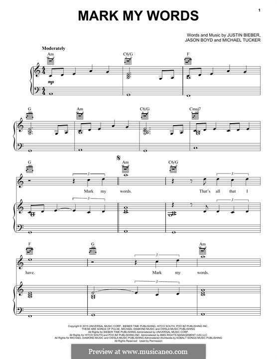 Mark My Words: Para vocais e piano (ou Guitarra) by Jason Boyd, Justin Bieber, Michael Tucker