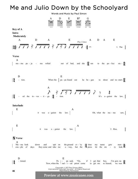 Me and Julio Down By the Schoolyard (Simon & Garfunkel): Para guitarra com guia by Paul Simon