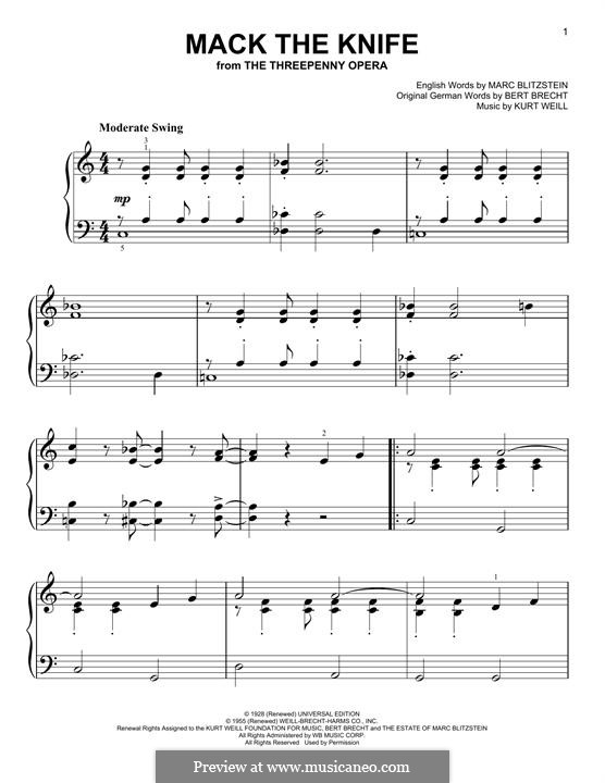 Mack the Knife: Para Piano by Kurt Weill