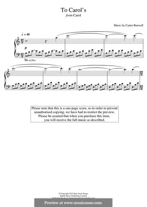 To Carol's (from 'Carol'): Para Piano by Carter Burwell