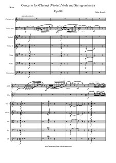 Double Concerto for Clarinet and Viola in E Minor, Op.88: Score and all parts by Max Bruch