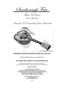 Scarborough Fair. Theme and Dance for Solo Mandolin: Scarborough Fair. Theme and Dance for Solo Mandolin by folklore, Lucas Sobieranski