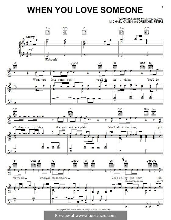 When You Love Someone: Para vocais e piano (ou Guitarra) by Bryan Adams, Gretchen Peters, Michael Kamen