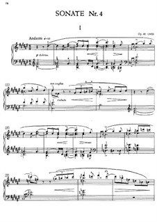 Sonata for Piano No.4, Op.30: For a single performer by Alexander Scriabin
