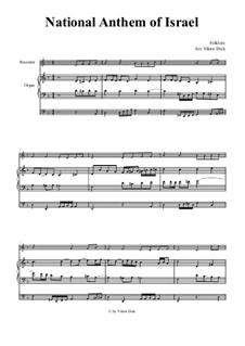 Hatikvah (With Hope): Para gravador e órgão by folklore