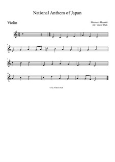 Kimigayo (Japanese National Anthem): para violino by Hiromori Hayashi
