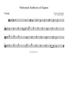 Kimigayo (Japanese National Anthem): para viola by Hiromori Hayashi