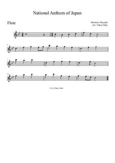 Kimigayo (Japanese National Anthem): para flauta by Hiromori Hayashi