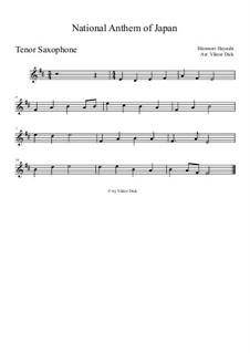 Kimigayo (Japanese National Anthem): para saxofone tenor by Hiromori Hayashi