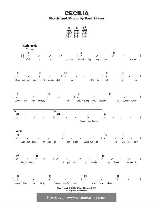 Cecilia (Simon & Garfunkel): para ukulele by Paul Simon