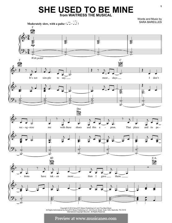 She Used To Be Mine: Para vocais e piano (ou Guitarra) by Sara Bareilles