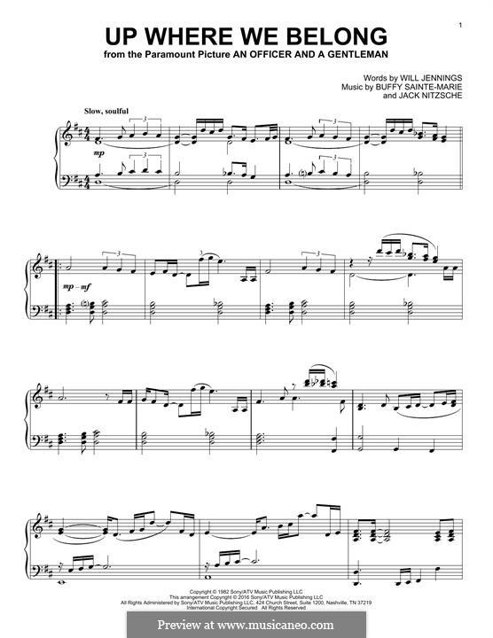 Up Where We Belong (Joe Cocker and Jennifer Warnes): Para Piano by Buffy Sainte-Marie, Jack Nitzsche, Will Jennings